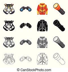 segno., campeggiare, web., illustrazione, alpinismo, vettore, picco, collezione, simbolo, casato