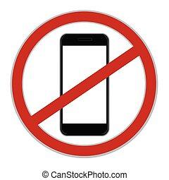 segno, cellphone, vettore, no