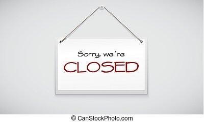 segno closed, asse, appendere, il, bianco, wall., vettore, illustrazione