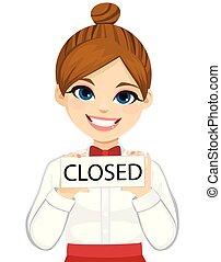 segno closed, barista, cameriera, asse