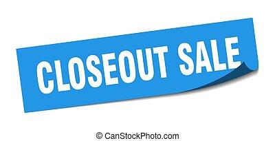 segno., closeout, sticker., quadrato, sale., vendita, peeler