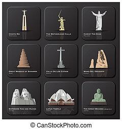 segno confine famoso, di, mondo, icona, set
