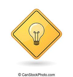 segno, consapevolezza, bulbo, luce
