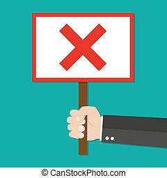 segno, croce, mano, uomo affari, presa, cartone animato, rosso