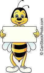 segno, divertente, vuoto, ape, cartone animato