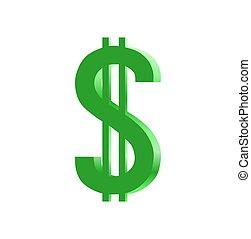 segno, dollaro, 3d