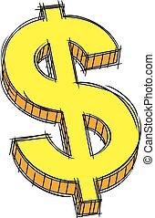 segno dollaro, scarabocchiare, giallo