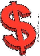 segno dollaro, scarabocchiare, rosso
