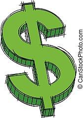 segno dollaro, scarabocchiare, verde