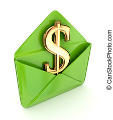 segno dollaro, verde, envelope.