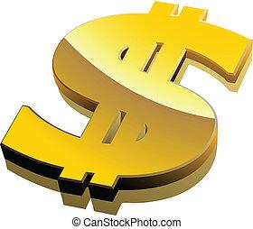 segno dollaro, vettore, dorato