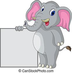 segno, elefante, cartone animato, vuoto