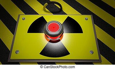 segno, fondo, nucleare, avvertimento, bottone rosso