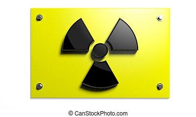 segno, fondo, nucleare, isolato, avvertimento, bianco