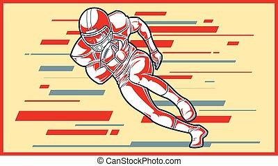 segno., football, americano, giocatore, correndo, ball.