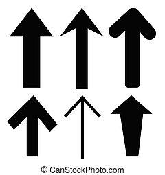 segno, freccia nera, icona