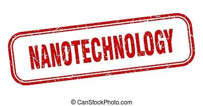 segno, grunge, quadrato, rosso, stamp., nanotechnology
