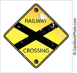 segno incrocio, ferrovia, giallo