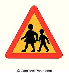 segno incrocio, traffico, isolato, bambini