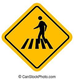 segno incrocio, traffico, zebra, vettore, pedone, design.