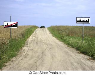 segno, inizio, strada, conclusione