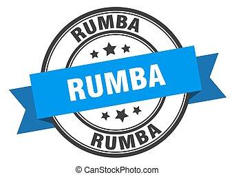 segno., label., rumba, francobollo, banda, rumbaround