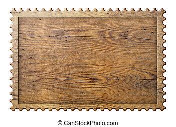 segno legno, in, forma, di, francobollo, cornice, isolato, bianco