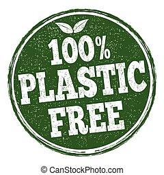 segno, libero, francobollo, o, 100%, plastica