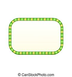 segno, luminoso, strada, vuoto, lucente, lampadine, spazio, vendemmia, retro, rettangolo, 3d, frame., colorito, lights., text., bandiera, illustration., luce, signboard., rettangolare, vettore, verde, pubblicità