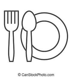 segno, mobile, coltelleria, bianco, pictogram, icon., contorno, famiglia, graphics., fondo., linea, design., magro, o, web, cibo, vettore, concetto, simbolo, coltello, piastra, forchetta, stile, set, piatto, pietanza