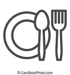 segno, mobile, coltelleria, bianco, pictogram, icon., contorno, famiglia, graphics., fondo., linea, design., o, web, cibo, vettore, concetto, simbolo, coltello, piastra, forchetta, stile, set, piatto, pietanza