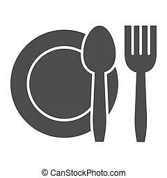 segno, mobile, coltelleria, bianco, pictogram, icon., famiglia, graphics., fondo., solido, design., o, glyph, web, cibo, vettore, concetto, simbolo, coltello, piastra, forchetta, stile, set, piatto, pietanza