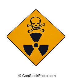 segno, mortale, avvertimento, radiazione, isolato