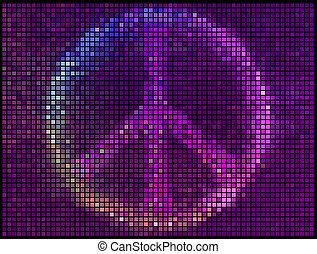 segno, mosaico, pixel, quadrato, astratto, luci, multicolor, vettore, fondo., pace