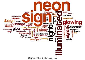 segno neon, parola, nuvola