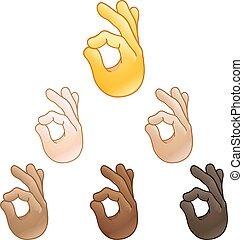 segno, ok, mano, emoji