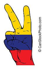 segno pace, di, il, bandiera colombiana