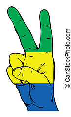 segno pace, di, il, bandiera, di, il, gabon