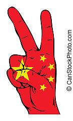 segno pace, di, il, bandierina cinese
