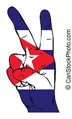 segno pace, di, il, bandierina cuban