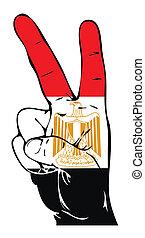 segno pace, di, il, bandierina egiziana
