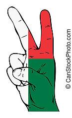 segno pace, di, il, madagascar, bandiera