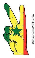 segno pace, di, il, senegalese, bandiera