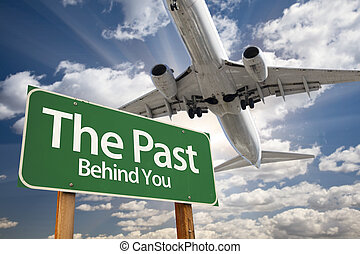 segno, passato, verde, sopra, aeroplano, strada