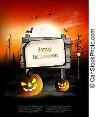 segno., pauroso, fondo, legno, vector., zucche, halloween