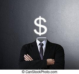 segno, pensare, dollaro, dentro, uomo