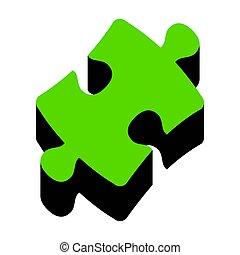 segno., puzzle, 3d, nero, vector., verde bianco, pezzo, lato, icona