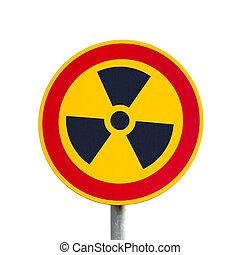segno, radioattivo, isolato