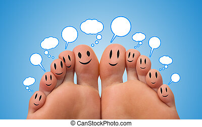 segno, rete, felice, sociale, dito, gruppo, smileys
