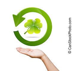 segno, riciclare, donne, mondo, verde, mano, concetto